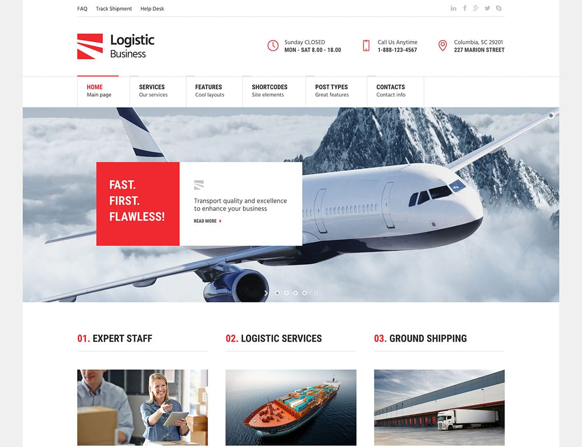 LogisticBusiness - 36+ Stunning WordPress Themes For Transportation [year]