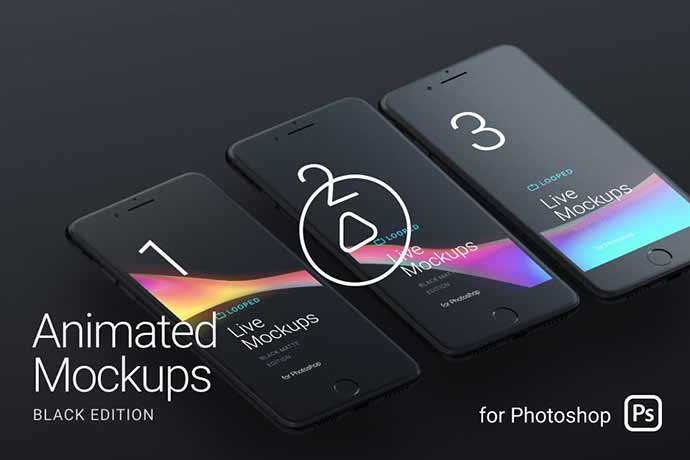 Looped-Animated-Mockups - 51+ Amazing iOS and Android Phone PSD Mockup Templates [year]