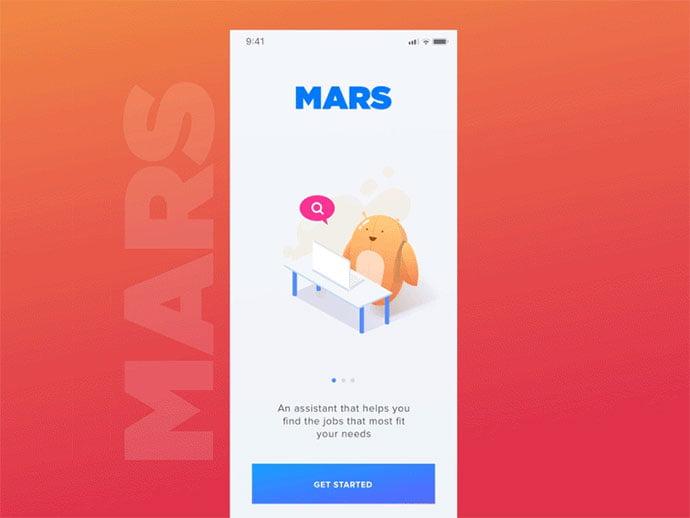 Mars-–-Welcome-Screen - 51+ Best Free Onboarding UI Mobile App Sample [year]