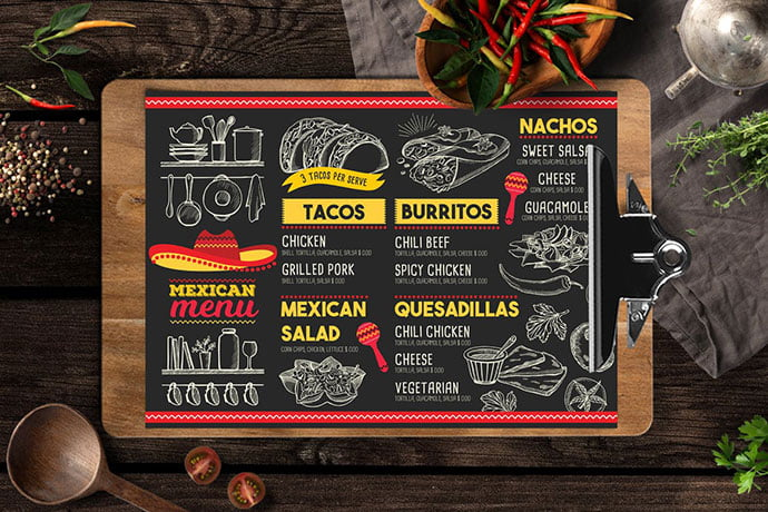 Mexican-Food-Menu - 36+ Stunning Hand Drawn Restaurant Menu Design PSD Templates [year]