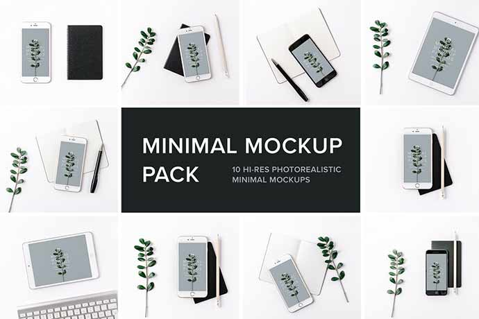 Minimal-Mockup-Pack-Photorealistic - 51+ Amazing iOS and Android Phone PSD Mockup Templates [year]