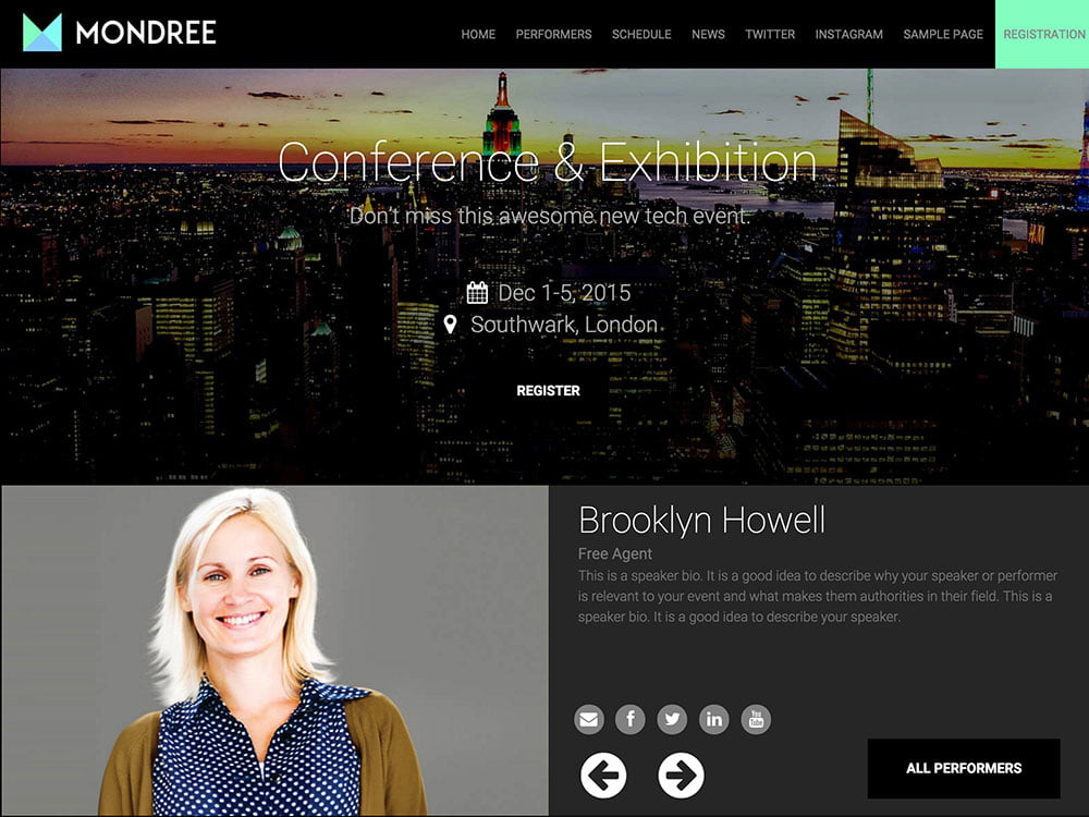 Mondree - 41+ Top Awesome WordPress Themes For Events [year]
