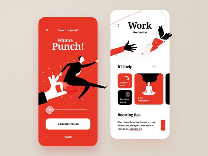 Motivational-App - 51+ Best Free Onboarding UI Mobile App Sample [year]