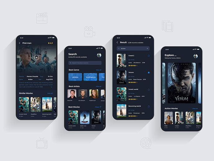 Movie - 63+ Amazing Film & TV App UI Design Sample [year]