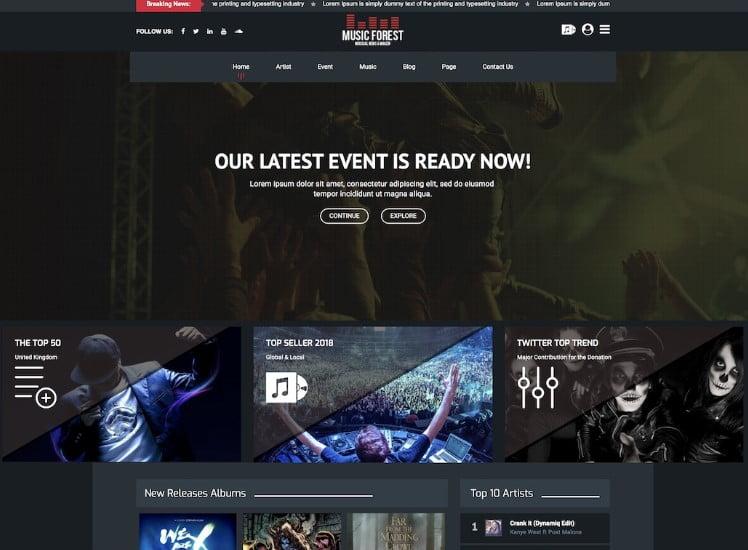 MusicForest - 41+ Stunning Responsive Music Website Templates [year]