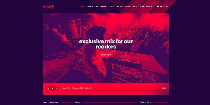 Muzak - 36+ Wonderful Gradients Designs WordPress Theme [year]