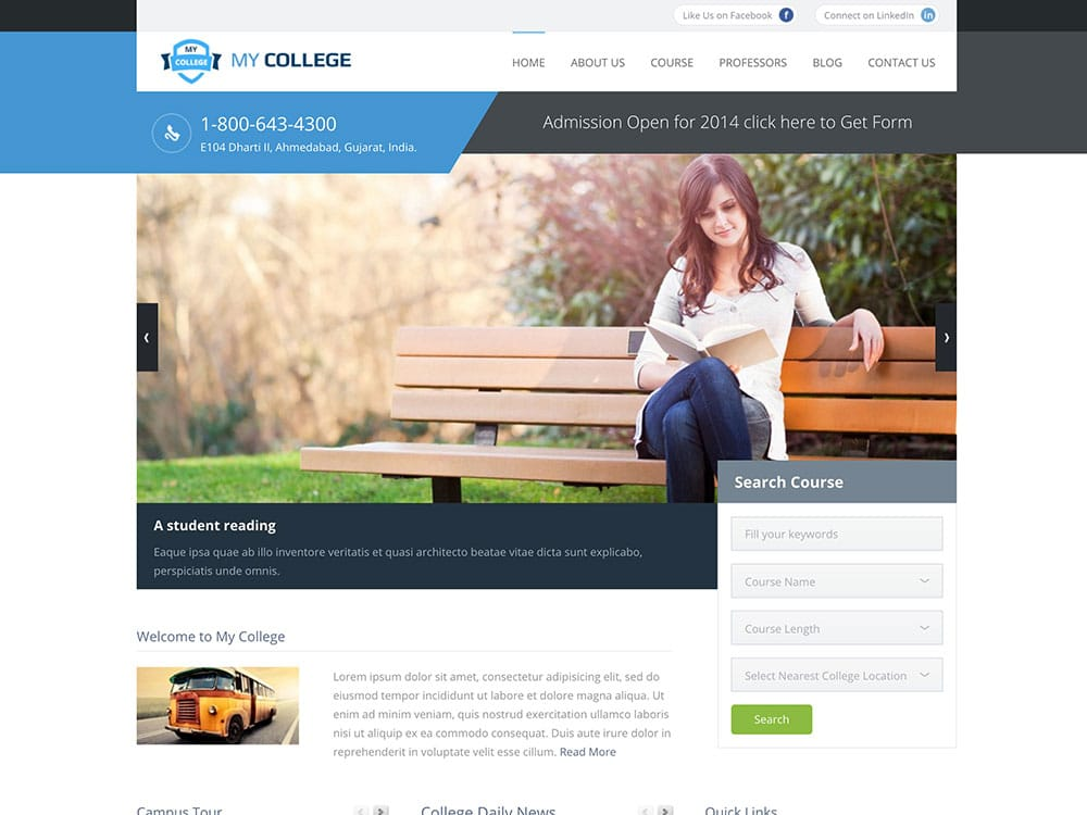 My-College - 51+ Top Best WordPress Themes For Education [year]