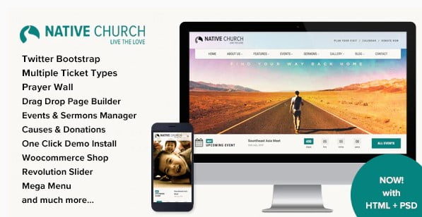 NativeChurch - 31+ Inspiring Modern Church WordPress Themes [year]