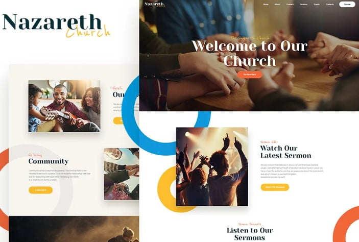 Nazareth - 31+ Inspiring Modern Church WordPress Themes [year]