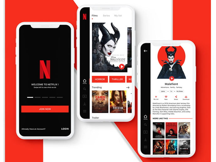 Netflix-Redesign - 63+ Amazing Film & TV App UI Design Sample [year]