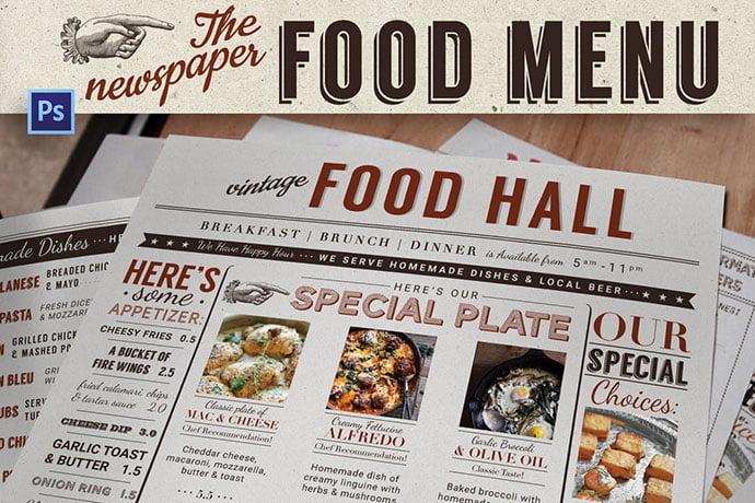 Newspaper-Food-Menu - 36+ Stunning Hand Drawn Restaurant Menu Design PSD Templates [year]