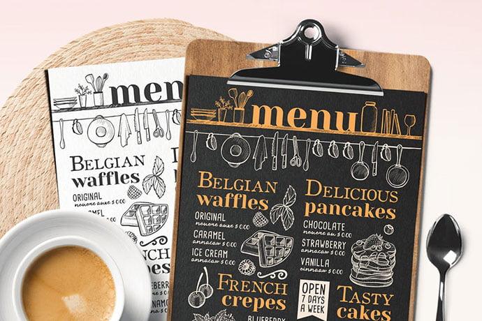 Pancakes-and-Waffles-Restaurant-Menu - 36+ Stunning Hand Drawn Restaurant Menu Design PSD Templates [year]