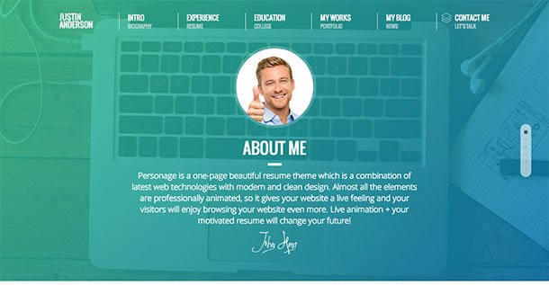 Personage - 31+ Top WordPress Themes For vCard [year]