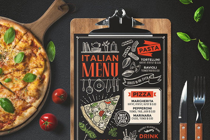 Pizza-Food-Menu - 36+ Stunning Hand Drawn Restaurant Menu Design PSD Templates [year]