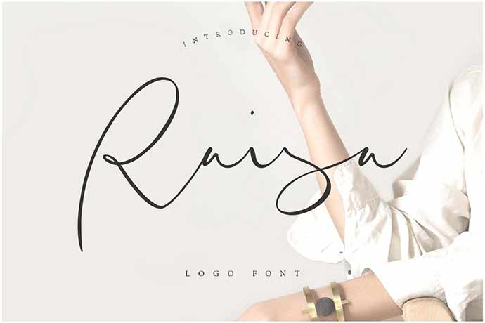 Raisa-Script - 41+ Important Logo Design Fonts For Graphic Designer [year]