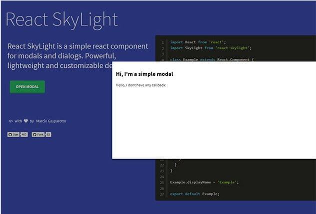 React-SkyLight - 61+ Free React UI Component Libraries [year]
