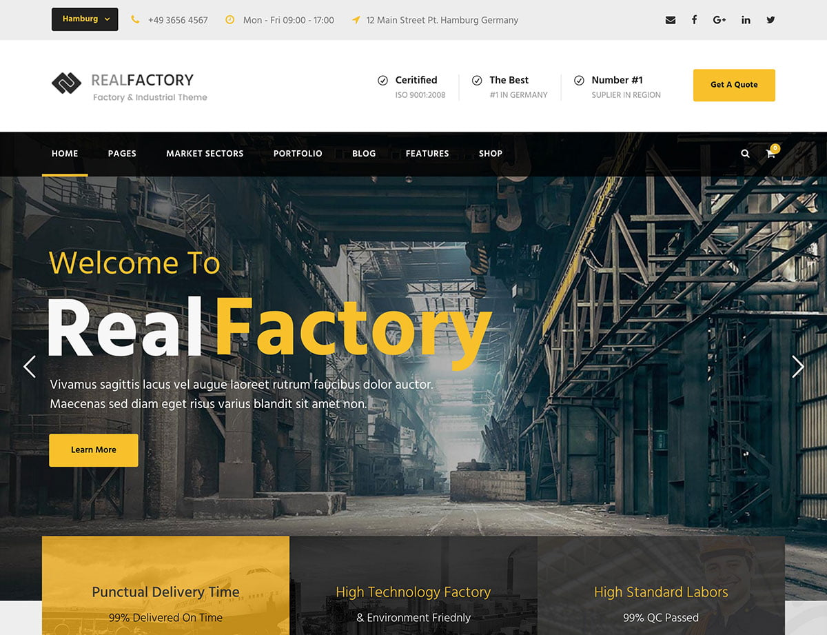 Real-Factory - 37+ Top WordPress Themes For Construction Company [year]