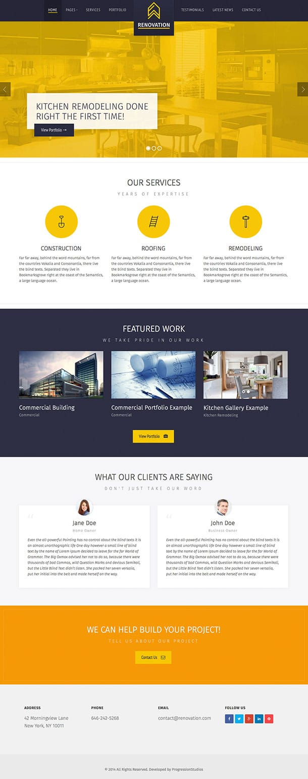 Renovation - 37+ Top WordPress Themes For Construction Company [year]
