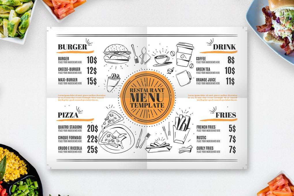 Restaurant-Menu-Design-Templates - 36+ Stunning Hand Drawn Restaurant Menu Design PSD Templates [year]