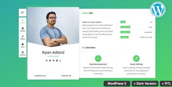 RyanCV-Resume - 41+ Awesome Logo Designer WordPress Themes [year]