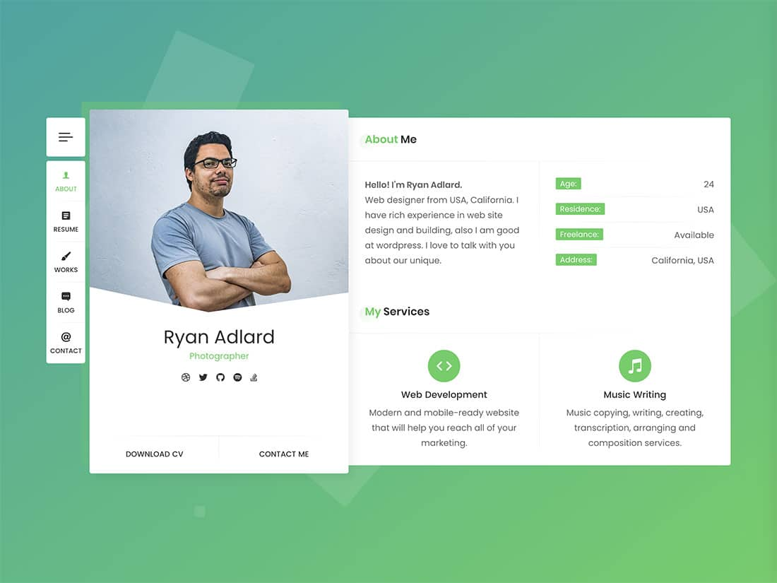 RyanCV - 31+ Top WordPress Themes For vCard [year]