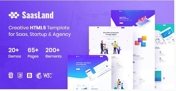 SaasLand - 65+ Amazing Free CSS HTML5 Website Design Templates [year]