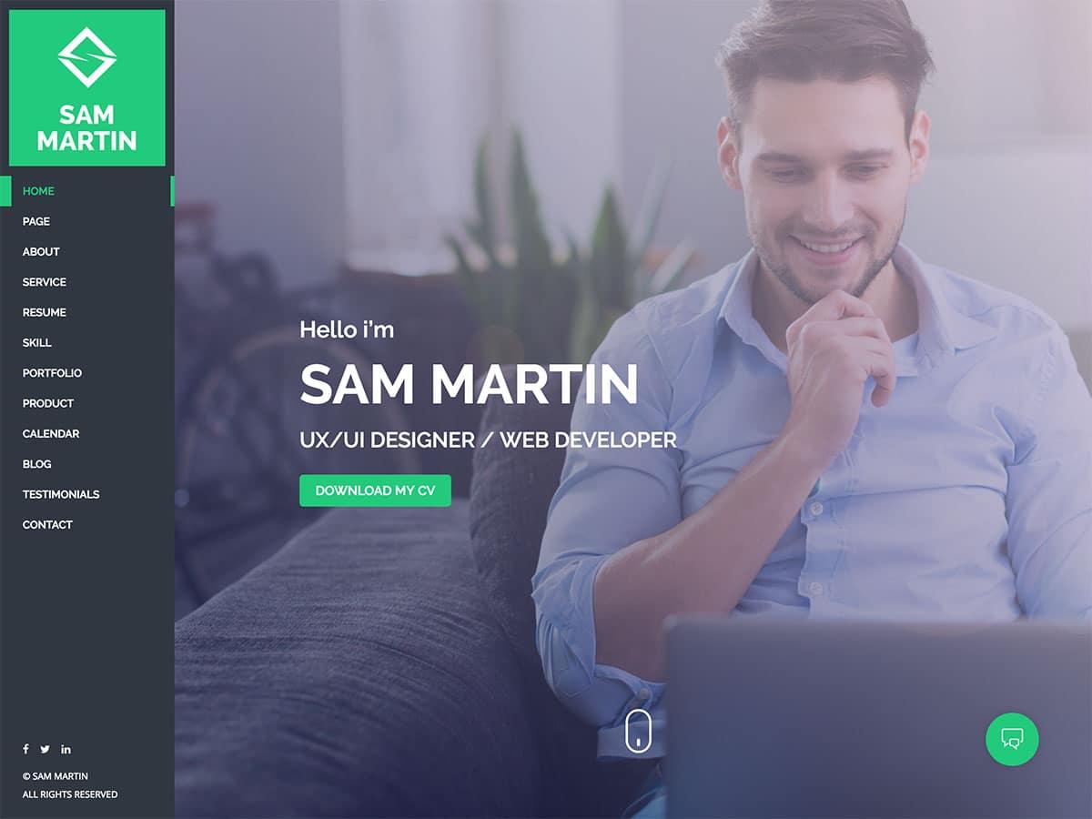 Sam-Martin - 31+ Top WordPress Themes For vCard [year]