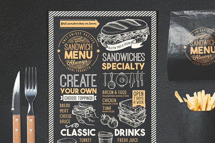 Sandwich-Food-Menu - 36+ Stunning Hand Drawn Restaurant Menu Design PSD Templates [year]