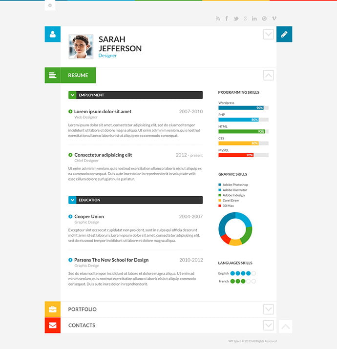 ShiftCV - 34+ Marvelous WordPress Resume Themes [year]