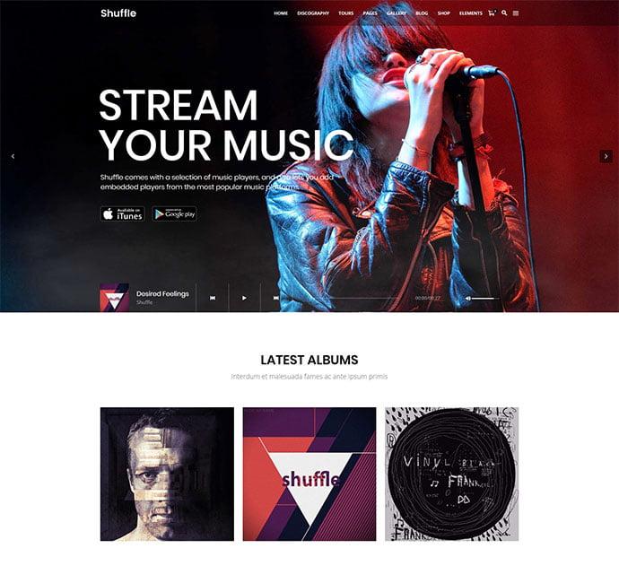 Shuffle - 31+ Best Online Music Selling WordPress Themes [year]