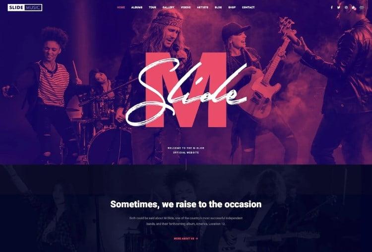 Slide - 41+ Stunning Responsive Music Website Templates [year]
