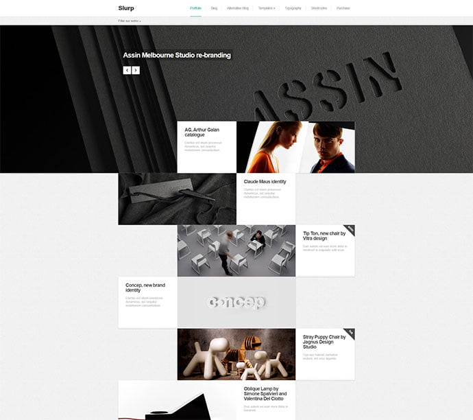 Slurp - 31+ Awesome WordPress Themes For Swiss-inspired [year]