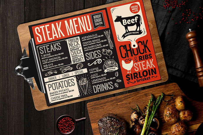 Steak-Food-Menu - 36+ Stunning Hand Drawn Restaurant Menu Design PSD Templates [year]