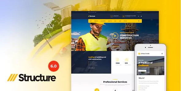 Structure - 37+ Top WordPress Themes For Construction Company [year]