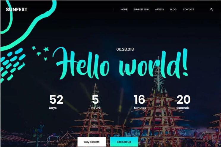Sunfest - 41+ Top Best Free WordPress & HTML5 Template [year]