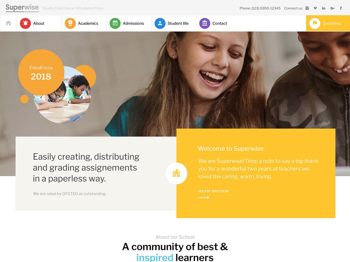 Superwise - 51+ Top Best WordPress Themes For Education [year]