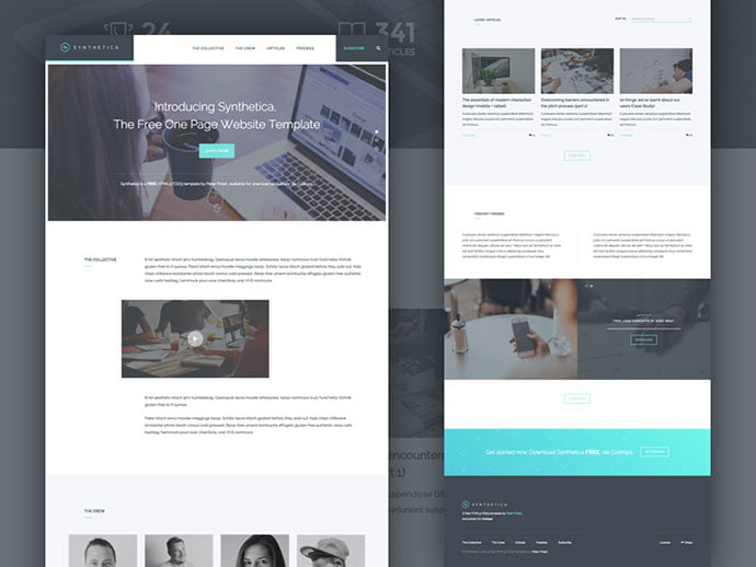 Synthetica - 65+ Amazing Free CSS HTML5 Website Design Templates [year]
