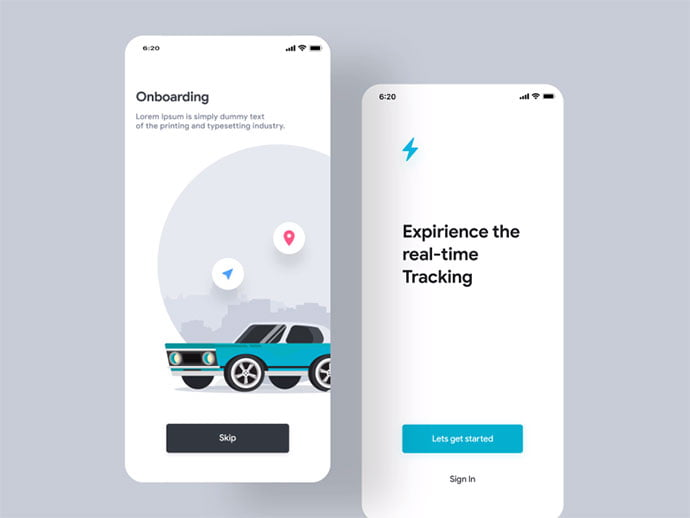 Taxi-Animation-Walkthrough - 51+ Best Free Onboarding UI Mobile App Sample [year]