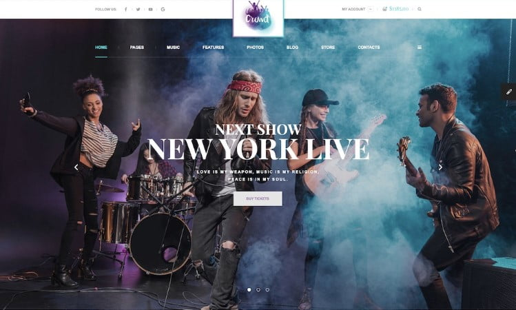 TheCrowd - 41+ Stunning Responsive Music Website Templates [year]