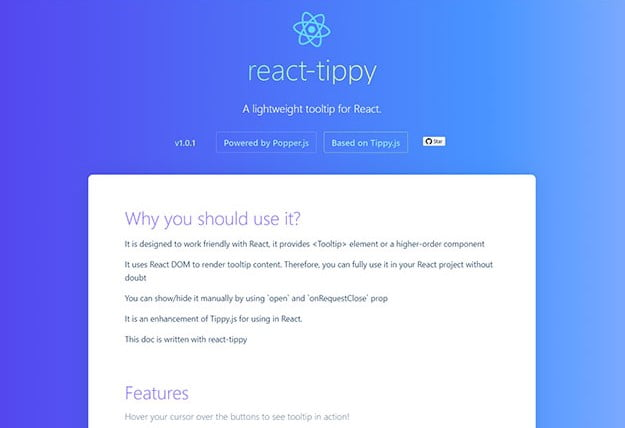 Tippy - 61+ Free React UI Component Libraries [year]