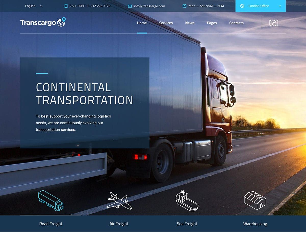 TransCargo - 36+ Stunning WordPress Themes For Transportation [year]