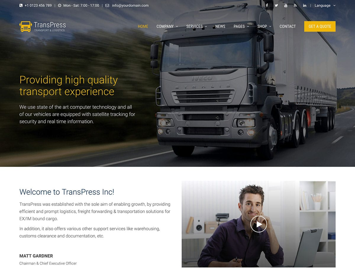 TransPress - 36+ Stunning WordPress Themes For Transportation [year]