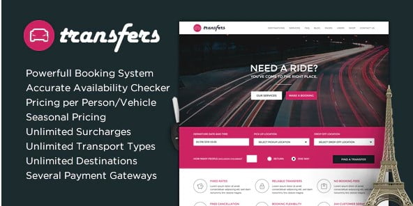 Transfers - 36+ Stunning WordPress Themes For Transportation [year]