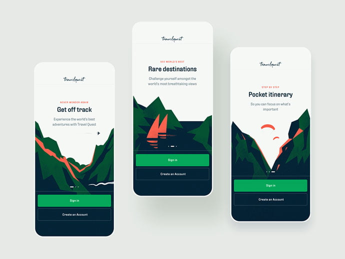 Travel-Quest-App-Onboarding-Illustrations - 51+ Best Free Onboarding UI Mobile App Sample [year]