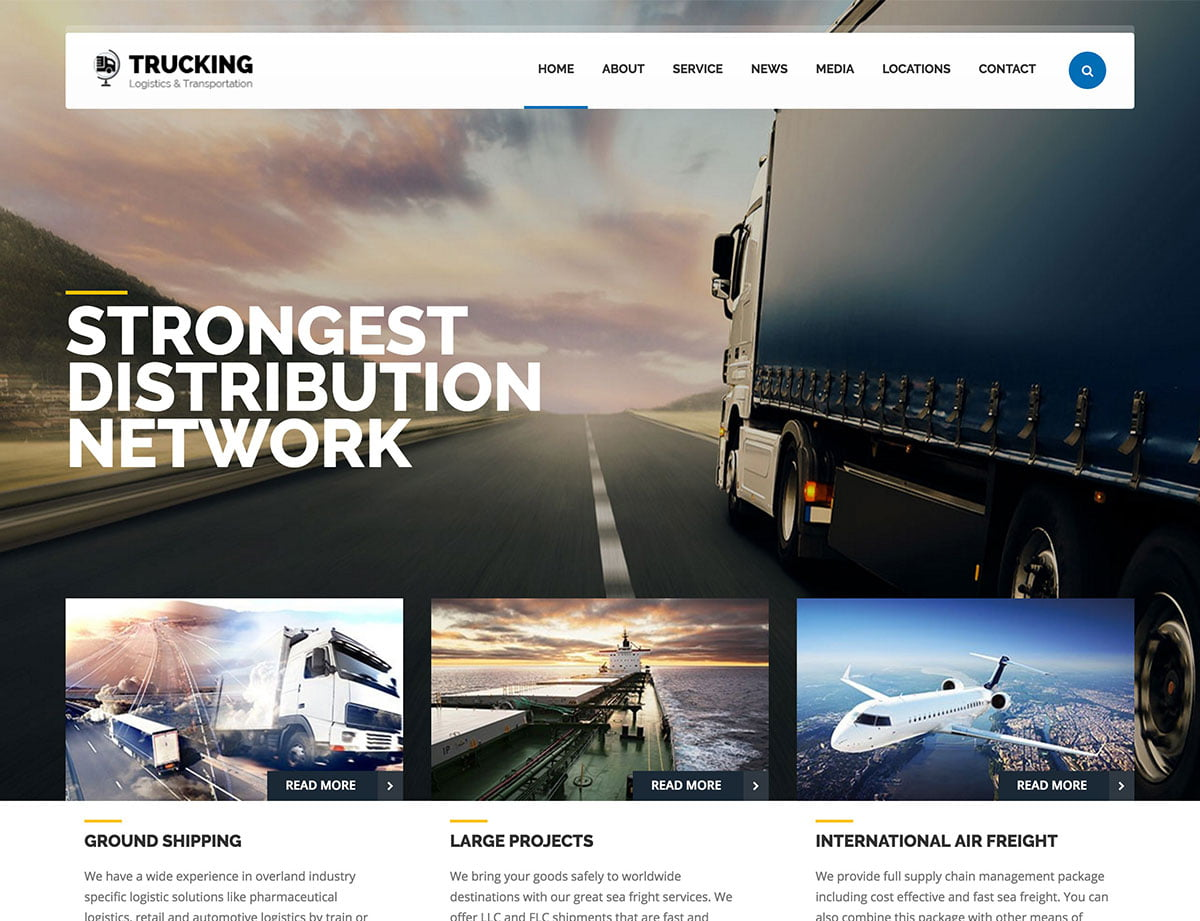 Trucking - 36+ Stunning WordPress Themes For Transportation [year]