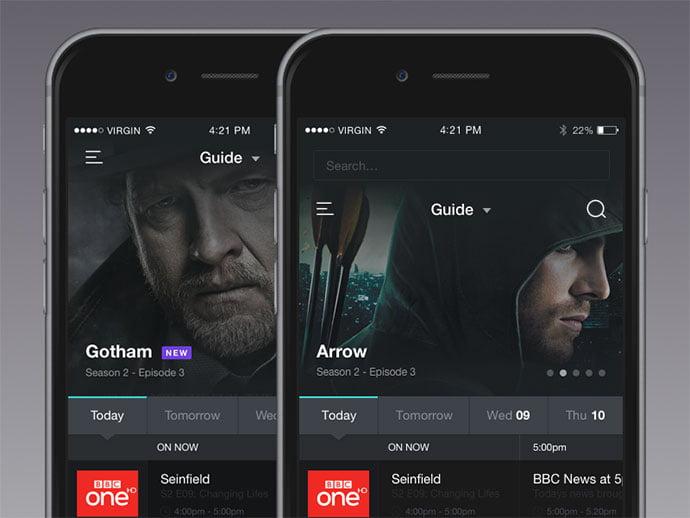 Tv-Guide - 63+ Amazing Film & TV App UI Design Sample [year]