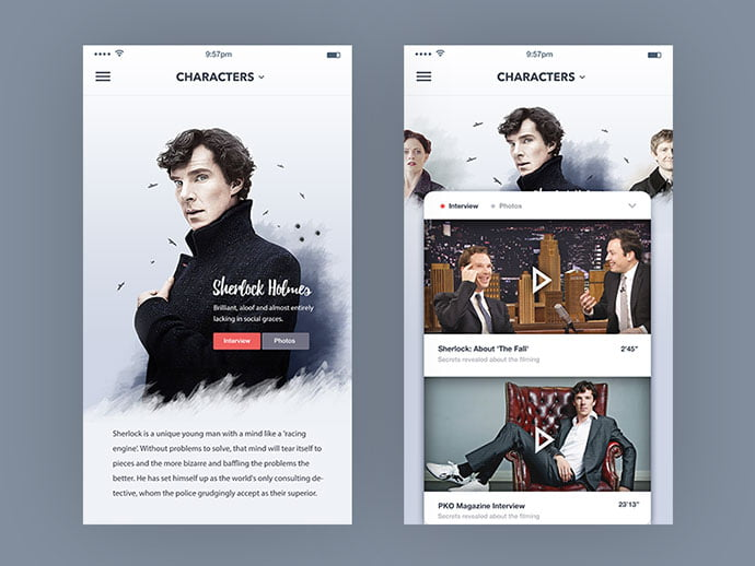 Tv-Show-Characters-Page - 63+ Amazing Film & TV App UI Design Sample [year]