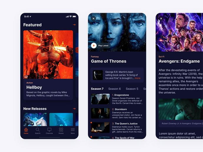 Tv-Streaming-App-Dark-Mode - 63+ Amazing Film & TV App UI Design Sample [year]