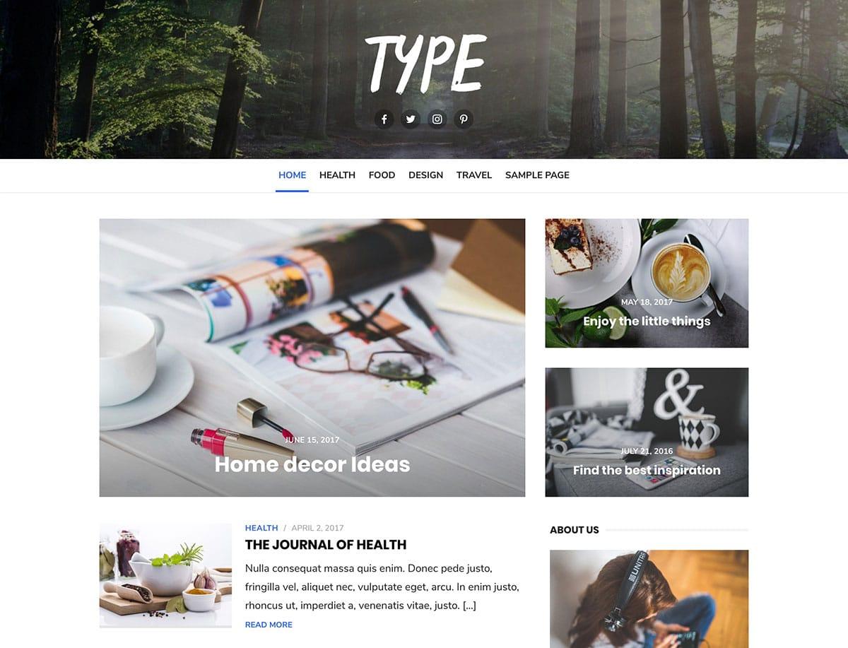 Type - 43+ Top Free WordPress Blog Themes [year]