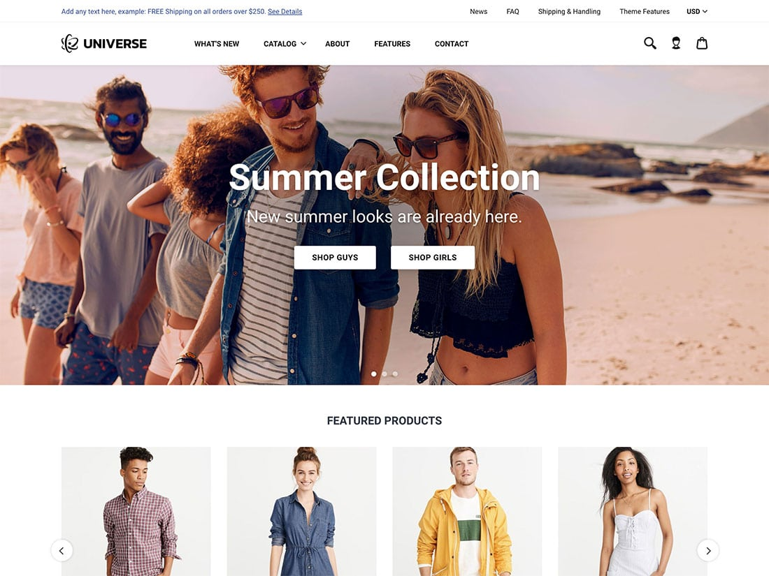 Universe-1 - 41+ Awesome Shopify Themes For Your Business [year]